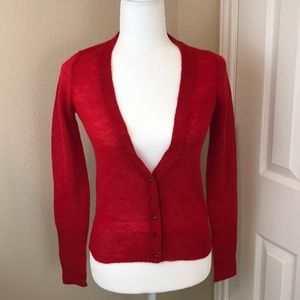 J Crew Valentine Red Jeweled Button Cardigan
